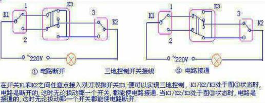 用三个开关来控制两个灯泡(楼梯间有两灯