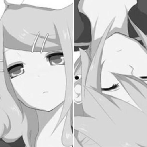 动漫情侣头像黑白,一个男孩,一个女孩,上面有love,,?